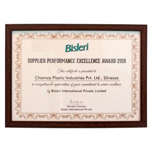 Bisleri Supplier Performance Excellence Certificate 2019
